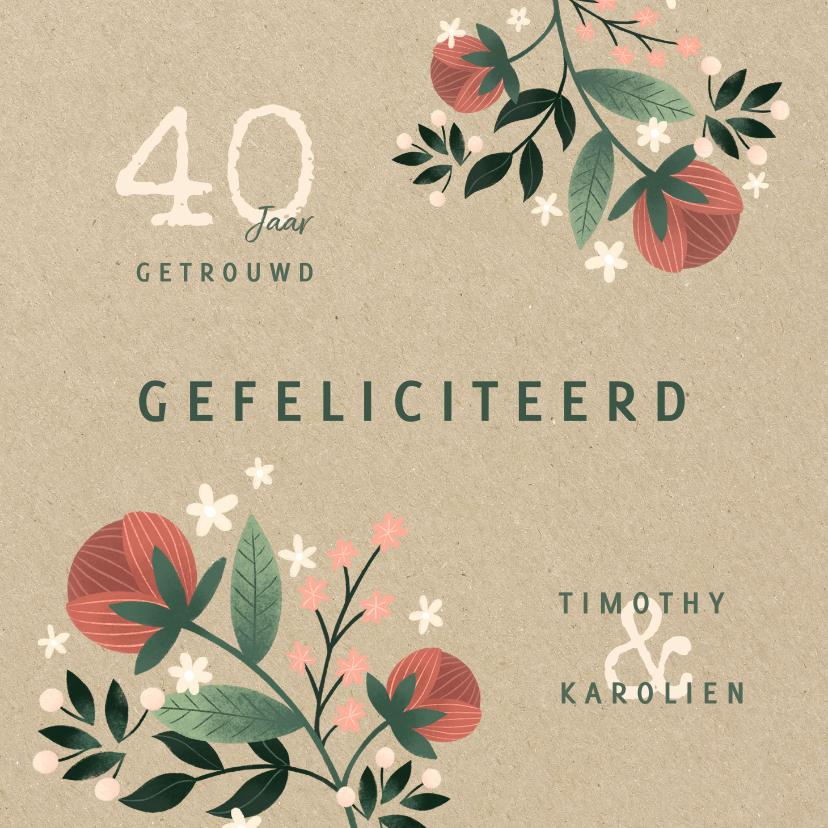 Felicitatiekaarten - Felicitatiekaart botanisch met bloemen, planten en kraftlook