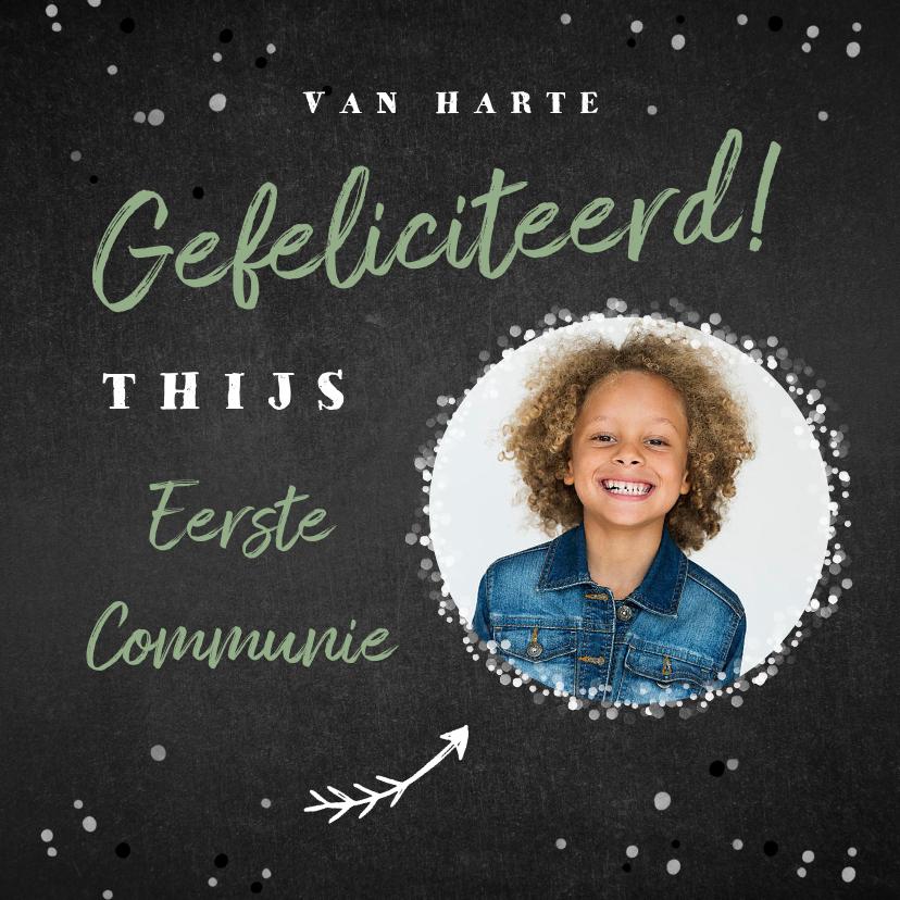 Felicitatiekaarten - Felicitatiekaart communie krijt confetti hip foto