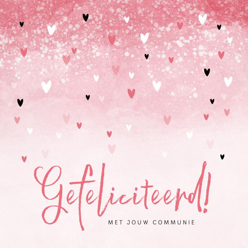 Felicitatiekaarten - Felicitatiekaart communie meisje roze hartjes waterverf