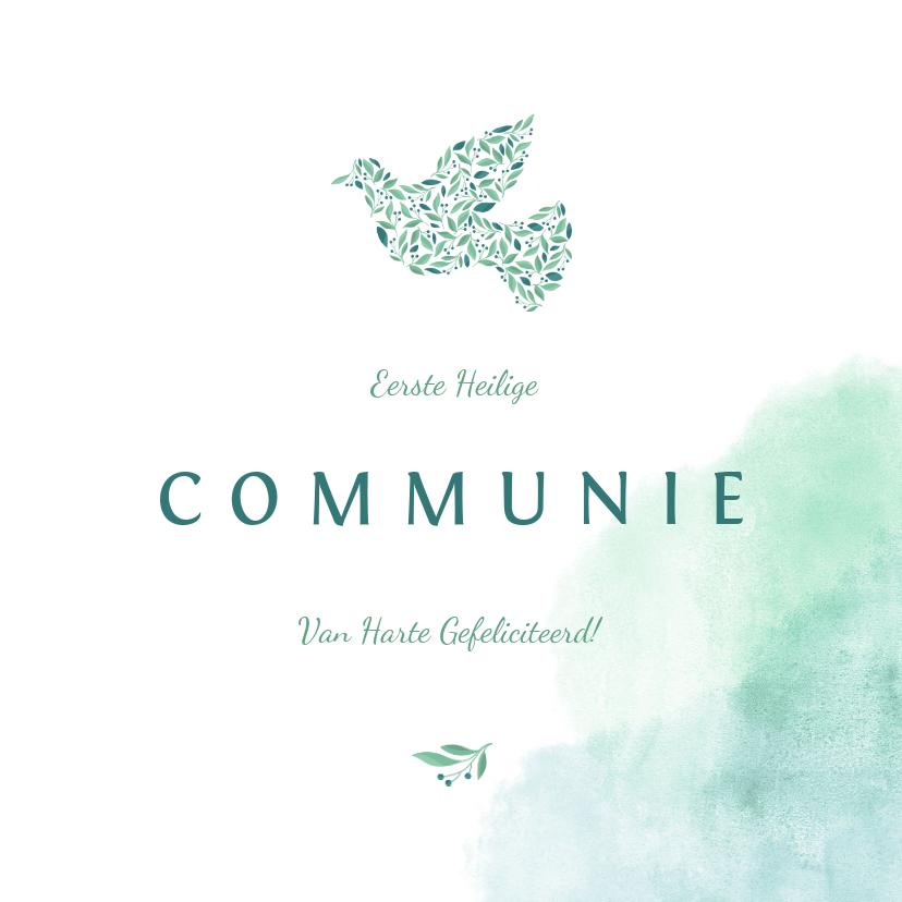 Felicitatiekaarten - Felicitatiekaart communie met waterverf en duif van bloemen