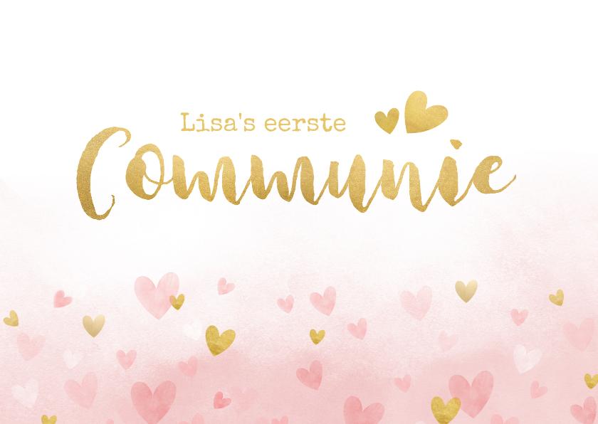 Felicitatiekaarten - Felicitatiekaart communie - roze waterverf met gouden hartje