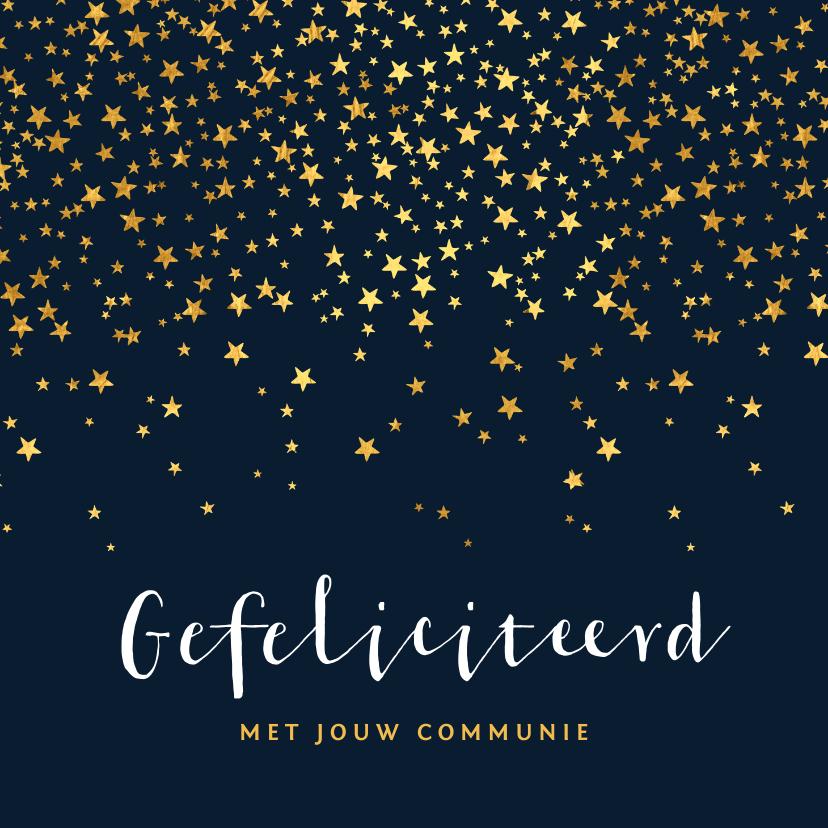 Felicitatiekaarten - Felicitatiekaart communie sterren goud foto