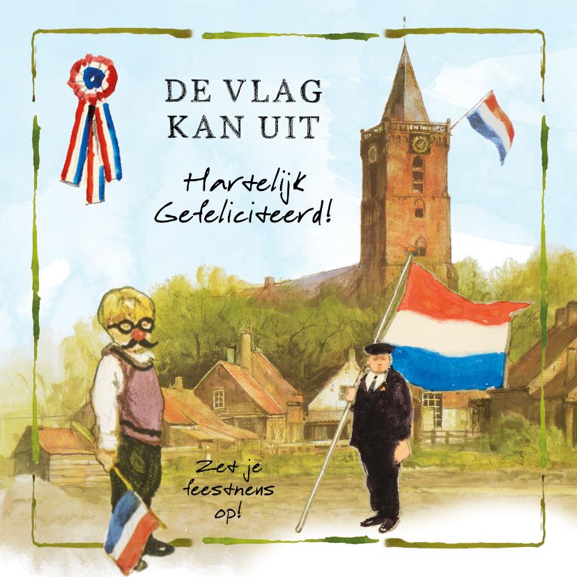 Felicitatiekaarten - Felicitatiekaart De vlag kan uit, hartelijk gefeliciteerd!