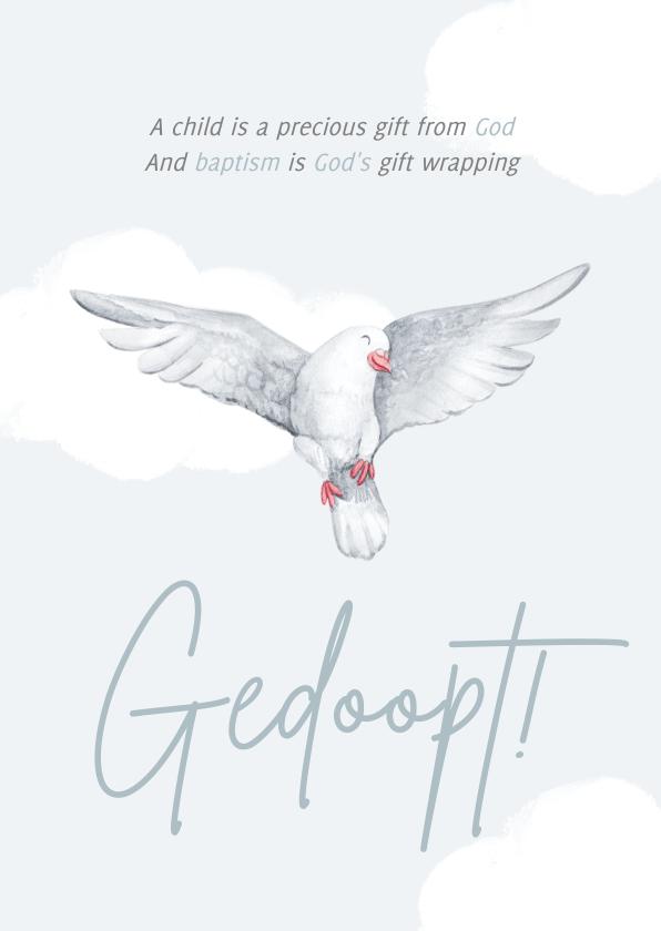 Felicitatiekaarten - Felicitatiekaart doopsel witte duif wolkjes