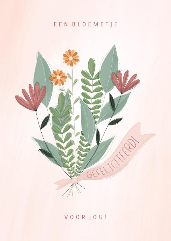 Felicitatiekaarten - Felicitatiekaart een bloemetje voor jou gefeliciteerd