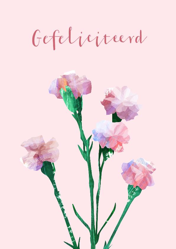 Felicitatiekaarten - Felicitatiekaart een bosje roze anjers