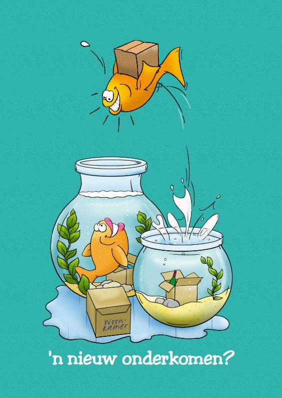 Felicitatiekaarten - Felicitatiekaart een nieuw onderkomen met vissenkom