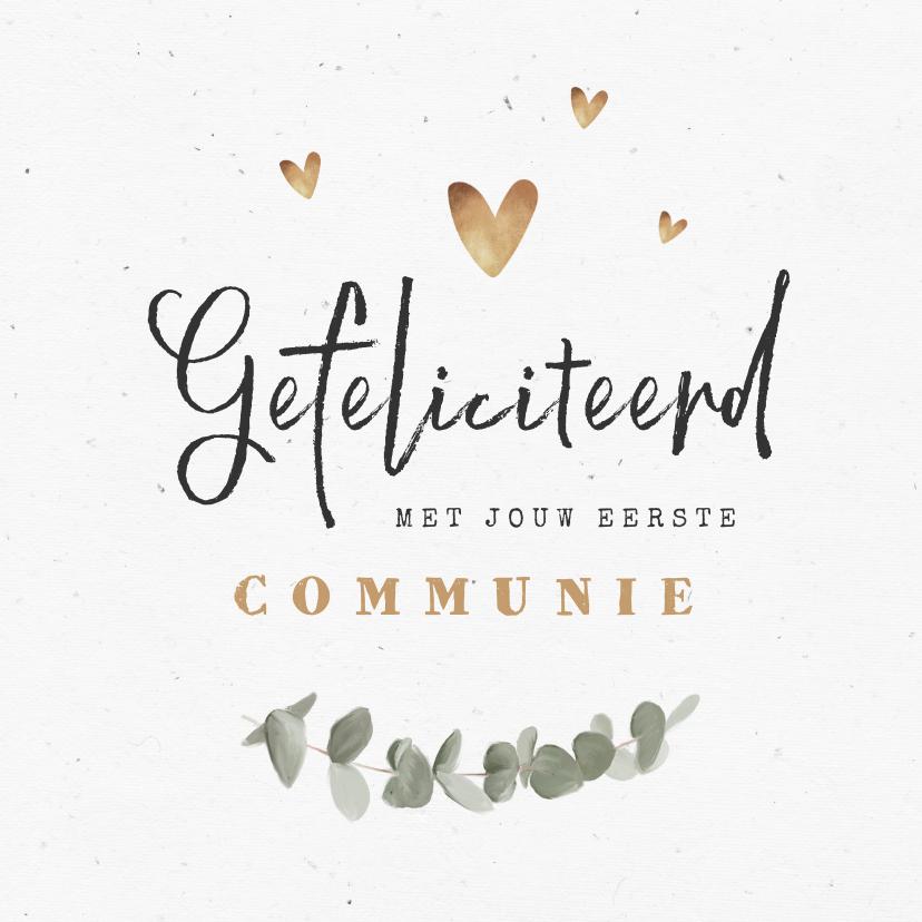 Felicitatiekaarten - Felicitatiekaart eerste communie eucalyptus goud hartjes