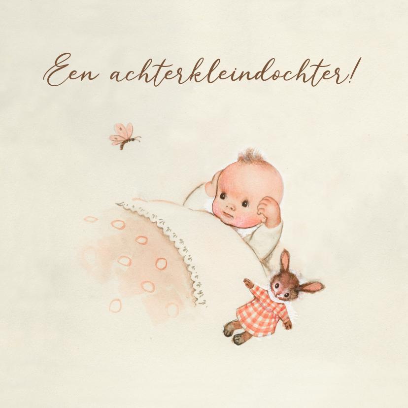 Felicitatiekaarten - Felicitatiekaart geboorte - Achterkleindochter met vlinder