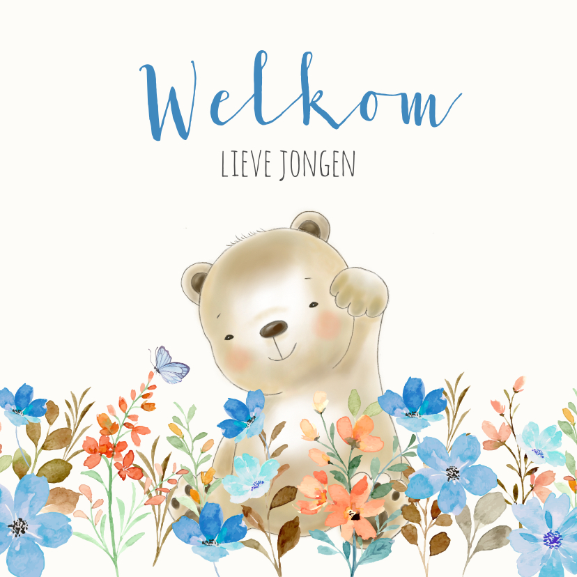 Felicitatiekaarten - Felicitatiekaart geboorte beer met bloemen jongen