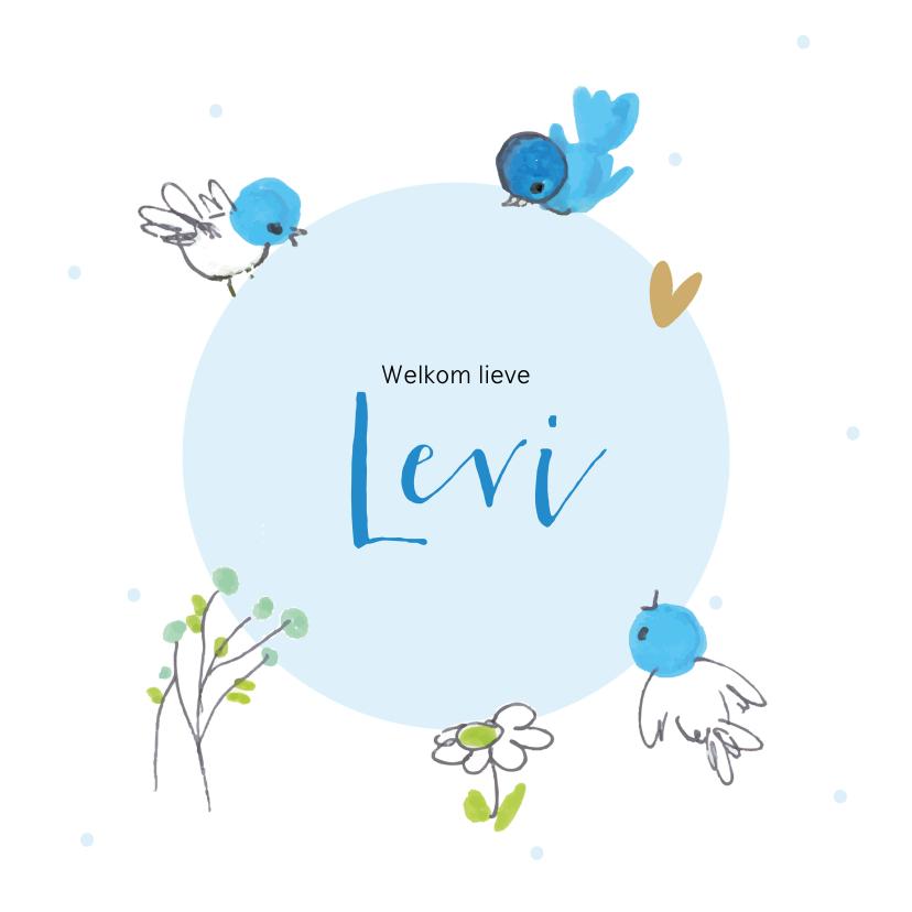 Felicitatiekaarten - Felicitatiekaart geboorte blauwe vogeltjes om cirkel
