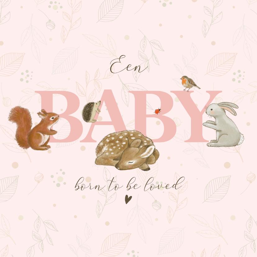 Felicitatiekaarten - Felicitatiekaart geboorte bosdieren met takjes roze