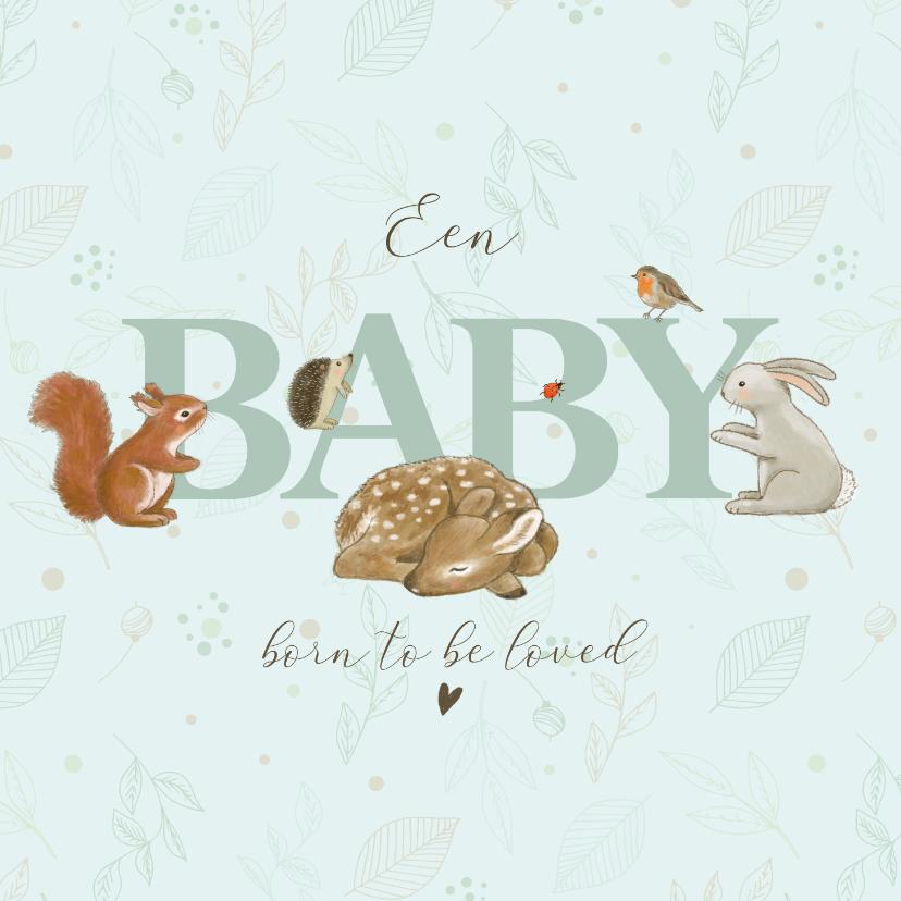 Felicitatiekaarten - Felicitatiekaart geboorte bosdieren takjes mintgroen