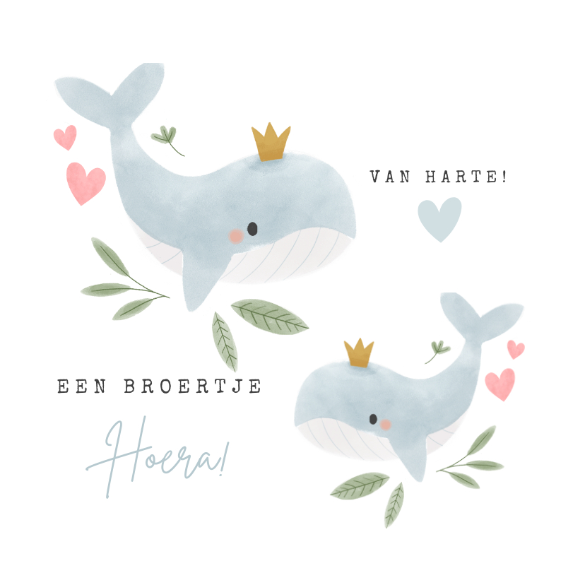 Felicitatiekaarten - Felicitatiekaart geboorte broertje met walvissen en plantje