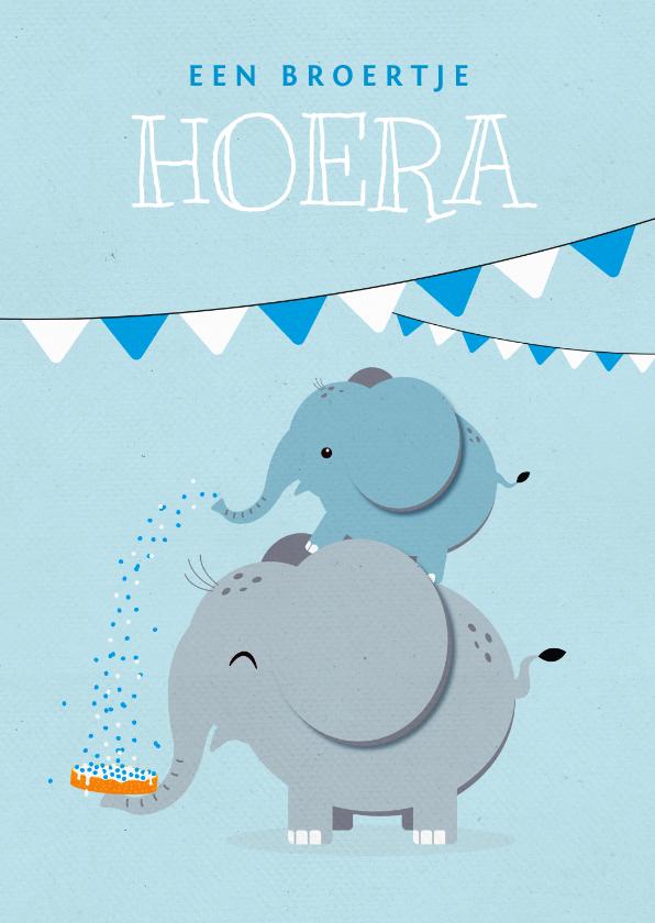 Felicitatiekaarten - Felicitatiekaart geboorte broertje olifant beschuitje feest