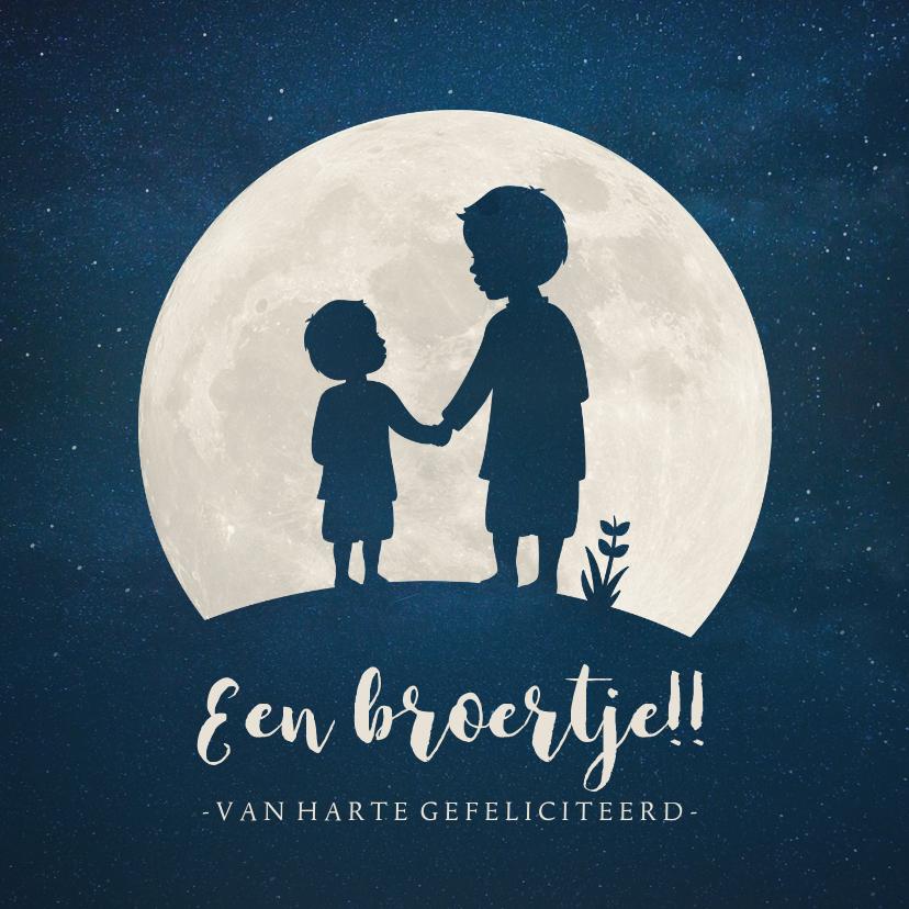 Felicitatiekaarten - Felicitatiekaart geboorte broertje - silhouet hand in hand