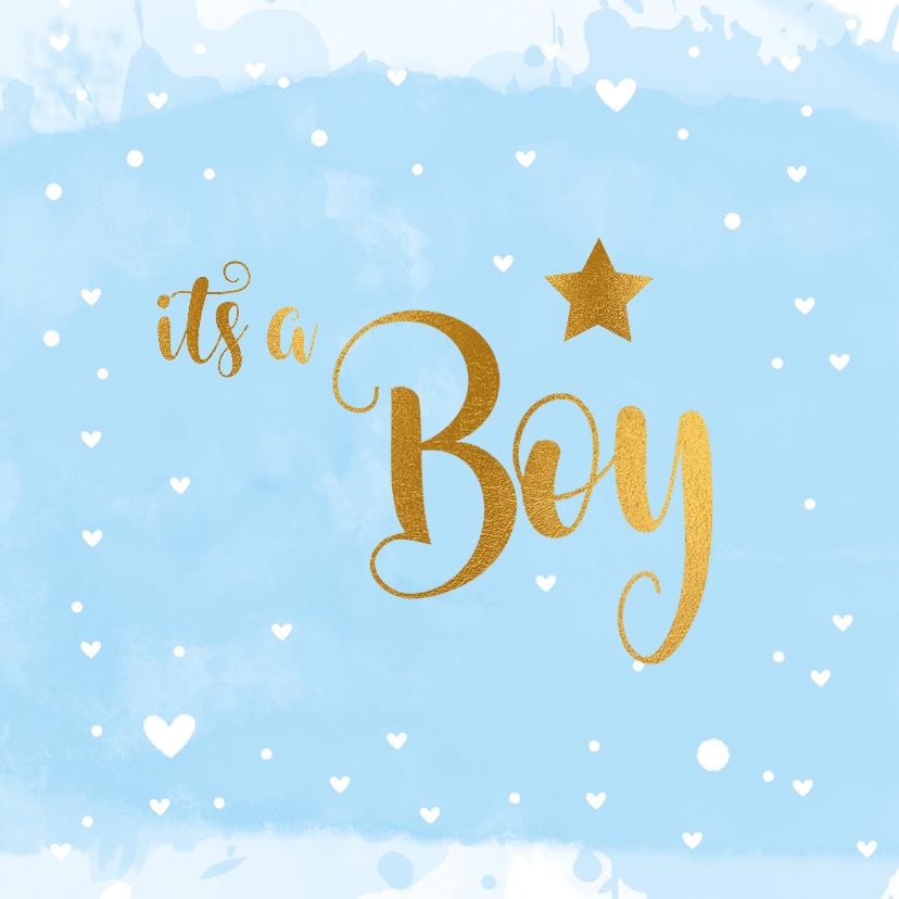Felicitatiekaarten - Felicitatiekaart geboorte it's a Boy lichtblauw