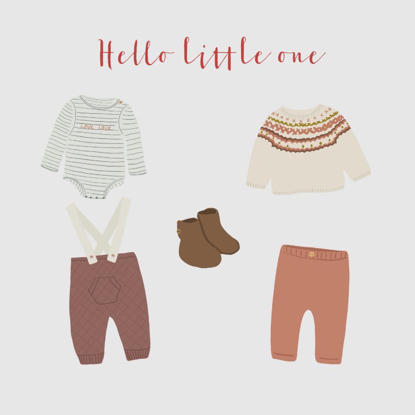 Felicitatiekaarten - Felicitatiekaart geboorte jongen babykleertjes