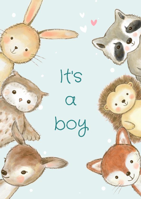 Felicitatiekaarten - Felicitatiekaart geboorte jongen bosdieren met confetti
