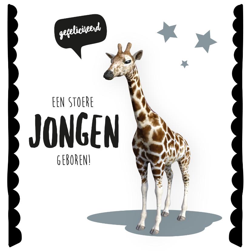 Felicitatiekaarten - Felicitatiekaart geboorte jongen giraffe