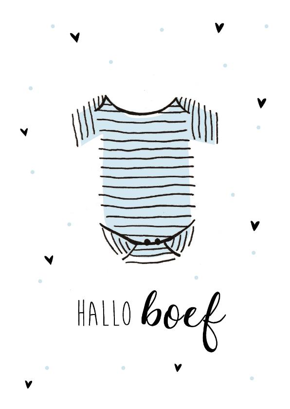 Felicitatiekaarten - Felicitatiekaart geboorte jongen hallo boef met romper