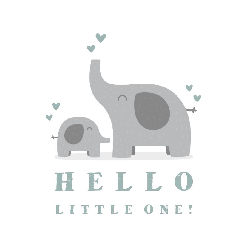 Felicitatiekaarten - Felicitatiekaart geboorte jongen olifantjes met hartjes