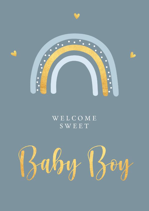 Felicitatiekaarten - Felicitatiekaart geboorte jongen regenboog goudlook