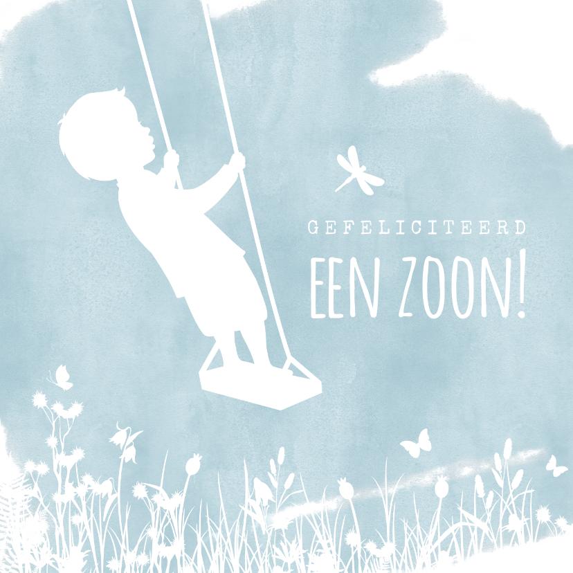 Felicitatiekaarten - Felicitatiekaart geboorte jongen - silhouet op schommel