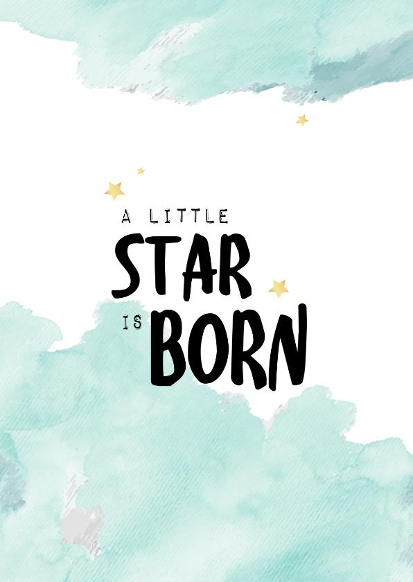 Felicitatiekaarten - Felicitatiekaart geboorte jongen waterverf