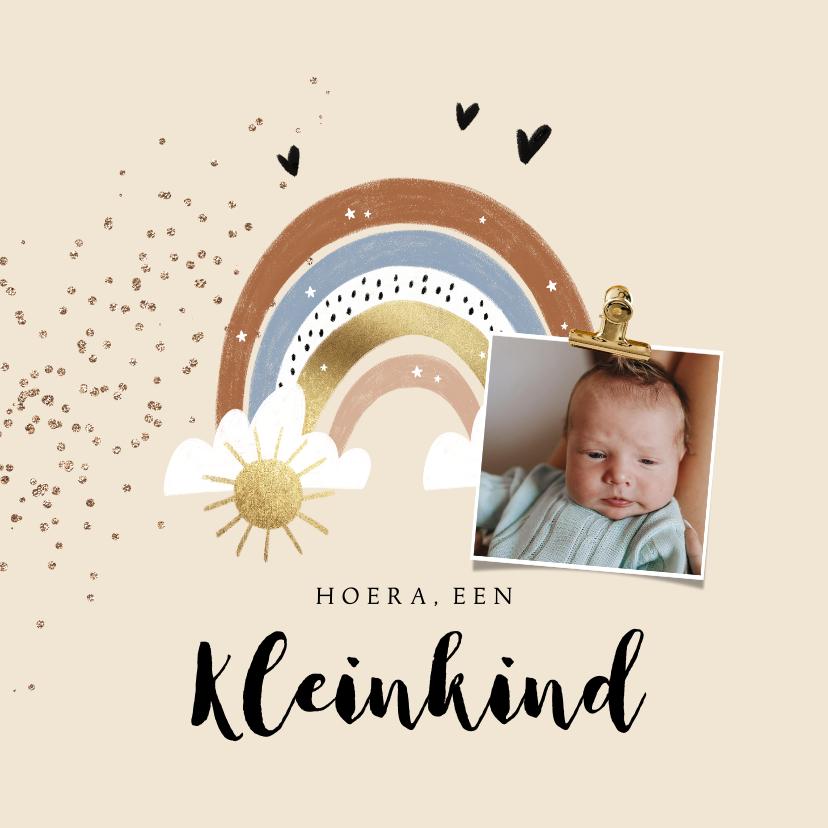 Felicitatiekaarten - Felicitatiekaart geboorte kleinkind regenboog zon hartjes
