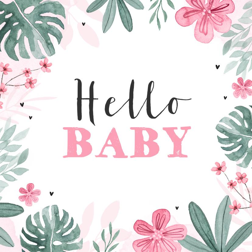 Felicitatiekaarten - Felicitatiekaart geboorte meisje baby bloemen hartje