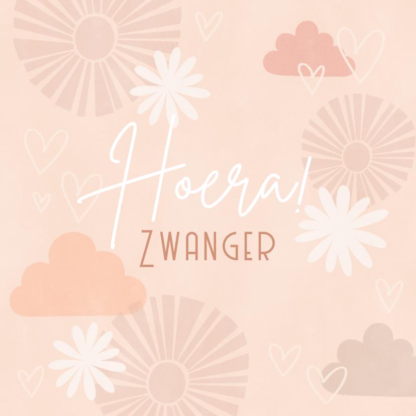 Felicitatiekaarten - Felicitatiekaart geboorte meisje bloemen, wolken en hartjes