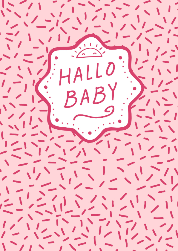 Felicitatiekaarten - Felicitatiekaart geboorte meisje dessin roze