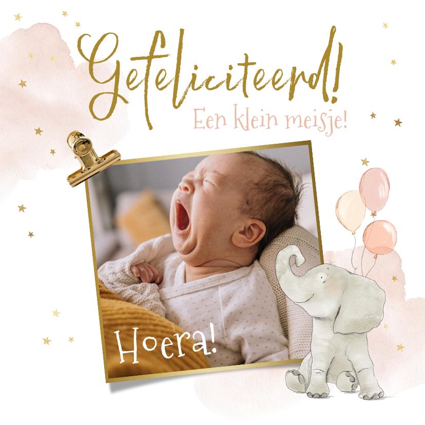 Felicitatiekaarten - Felicitatiekaart geboorte meisje foto olifant ballonnen ster