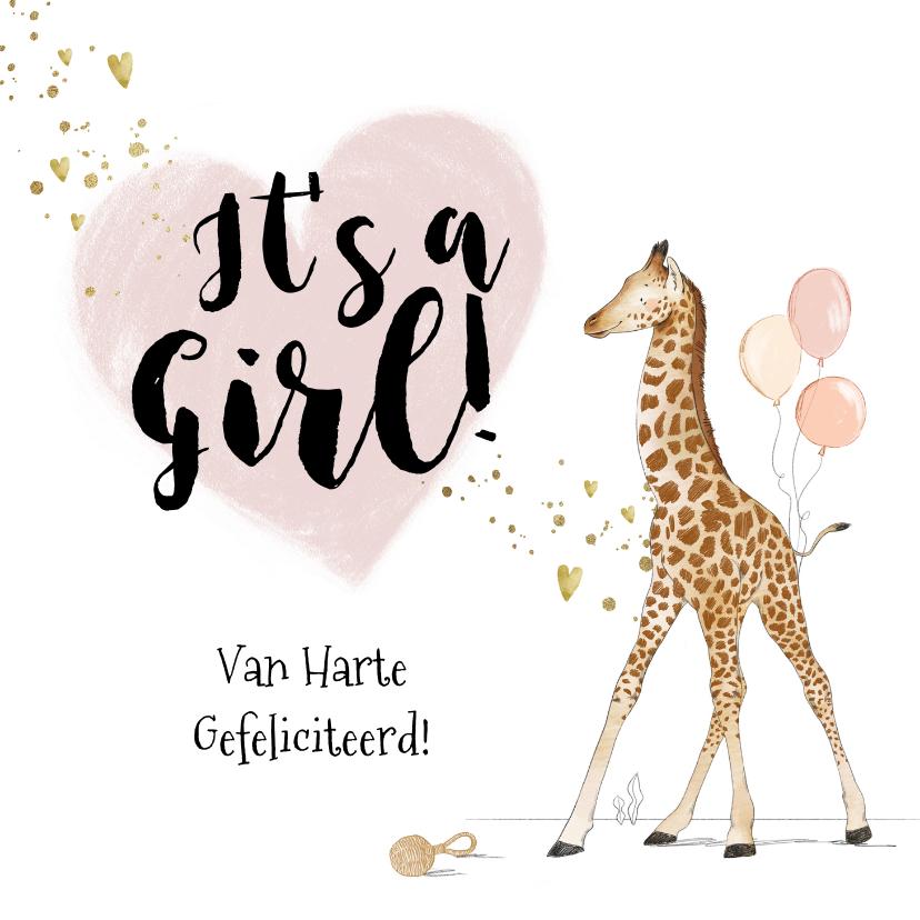 Felicitatiekaarten - Felicitatiekaart geboorte meisje giraf hart goud spetters
