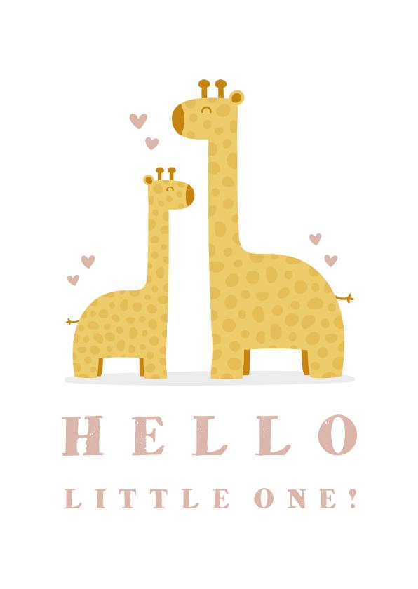 Felicitatiekaarten - Felicitatiekaart geboorte meisje giraffes met hartjes
