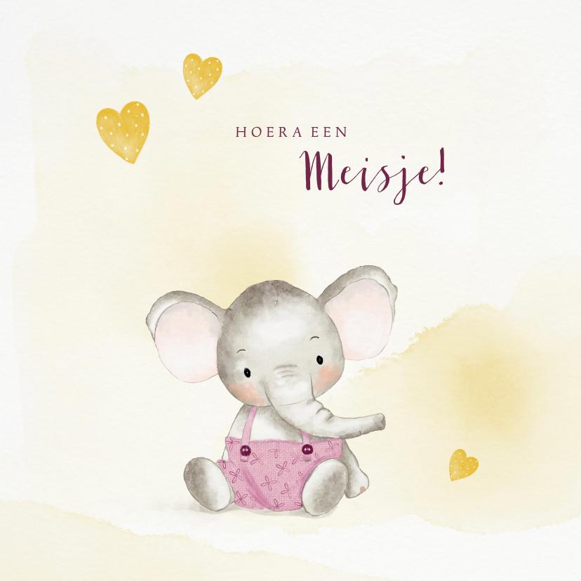 Felicitatiekaarten - Felicitatiekaart geboorte meisje met olifantje en hartjes
