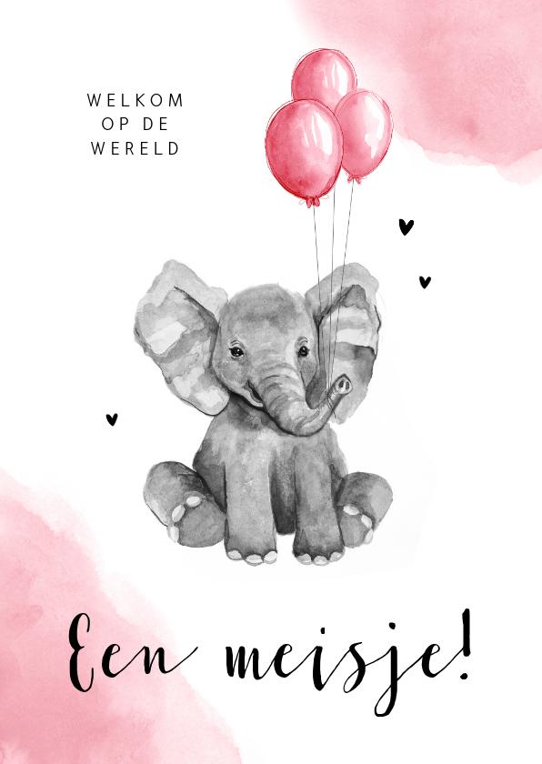 Felicitatiekaarten - Felicitatiekaart geboorte meisje olifant ballon waterverf