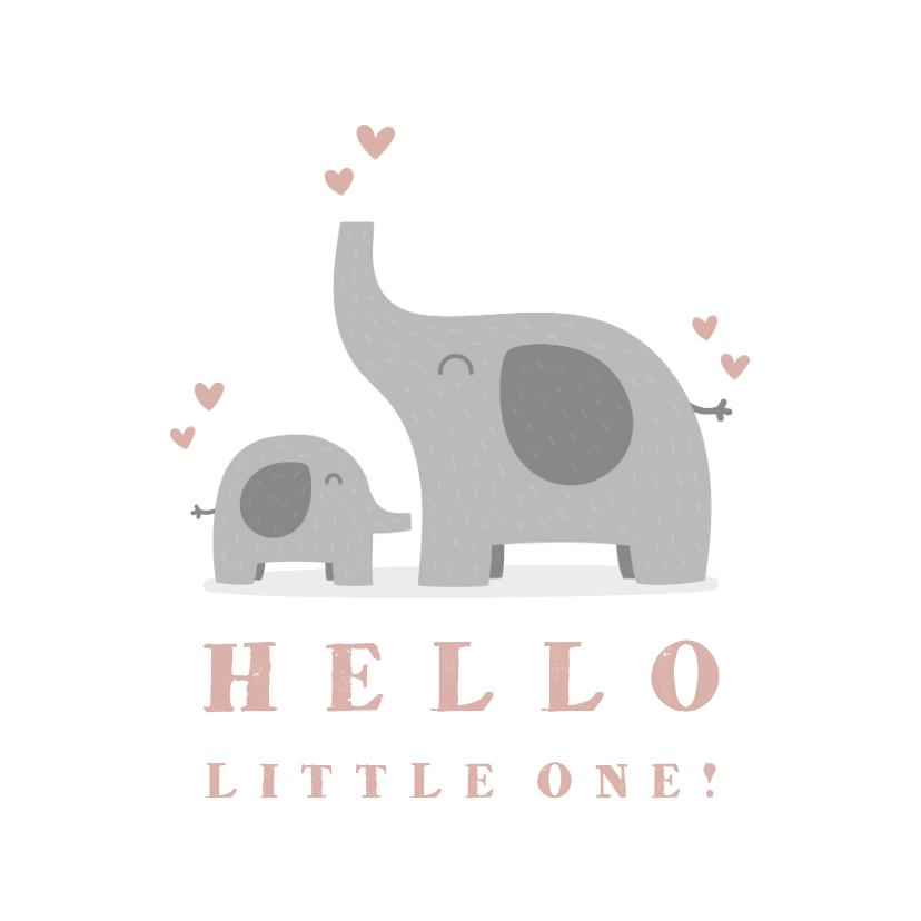 Felicitatiekaarten - Felicitatiekaart geboorte meisje olifantjes met hartjes
