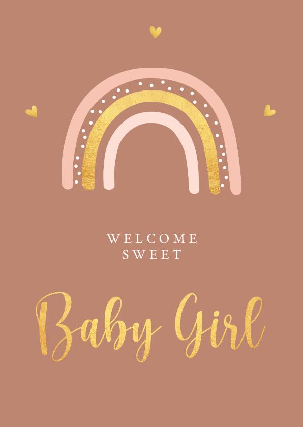 Felicitatiekaarten - Felicitatiekaart geboorte meisje regenboog goudlook