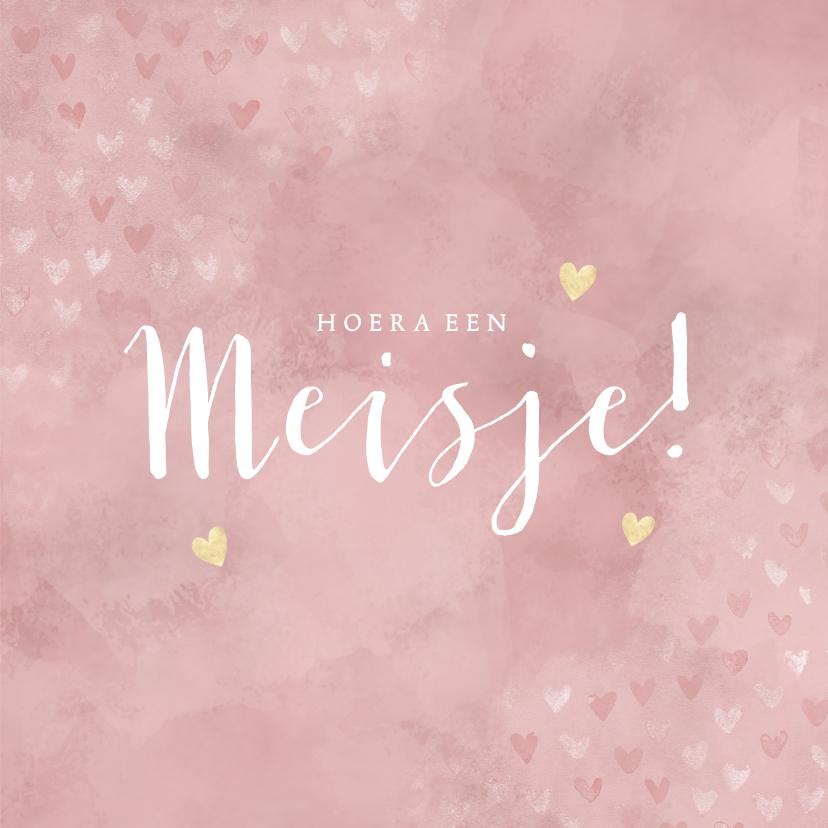 Felicitatiekaarten - Felicitatiekaart geboorte meisje, roze met gouden hartjes