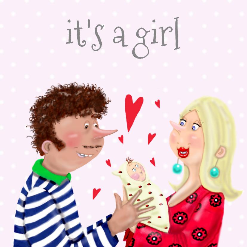Felicitatiekaarten - Felicitatiekaart geboorte meisje vrolijk