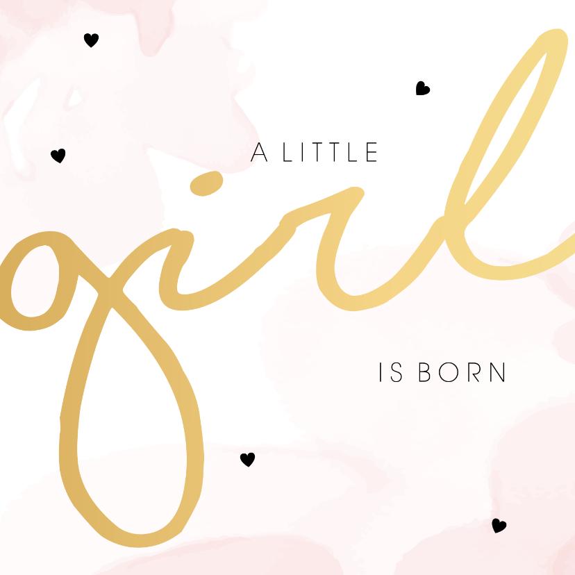 Felicitatiekaarten - Felicitatiekaart geboorte meisje waterverf roze