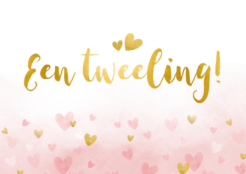 Felicitatiekaarten - Felicitatiekaart geboorte meisjes tweeling waterverf hartjes