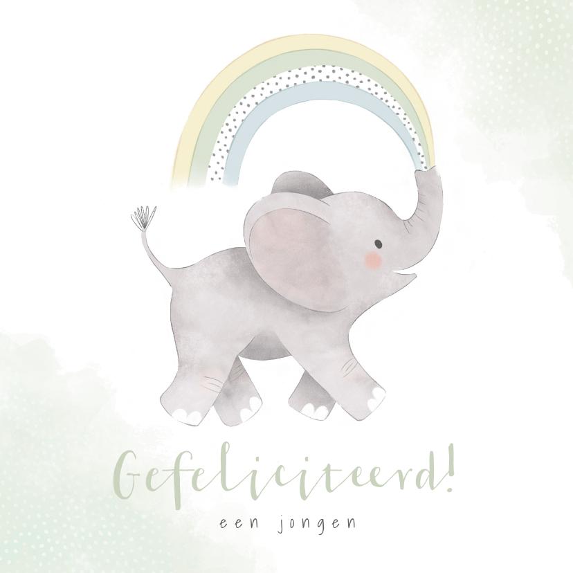 Felicitatiekaarten - Felicitatiekaart geboorte met olifantje en regenboog zoon