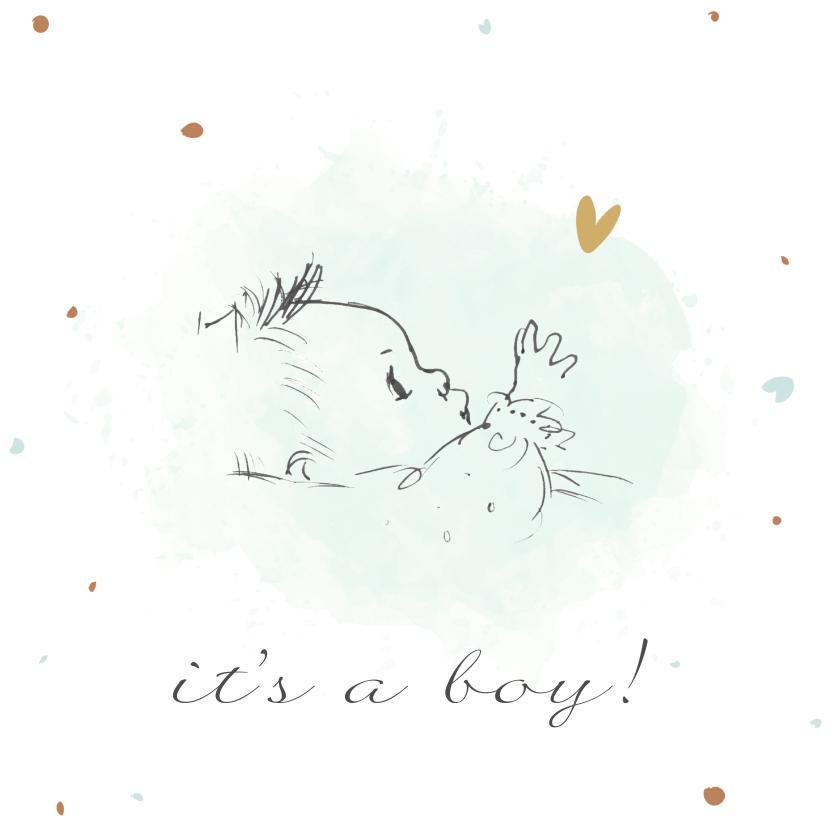 Felicitatiekaarten - Felicitatiekaart geboorte met pentekening baby met waterverf