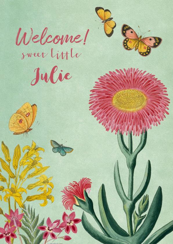 Felicitatiekaarten - Felicitatiekaart geboorte met vintage bloemen en vlinders