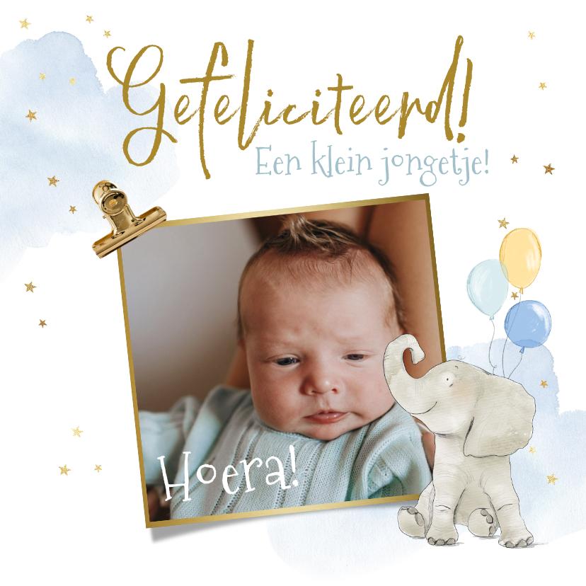Felicitatiekaarten - Felicitatiekaart geboorte olifant watercolour foto jongen