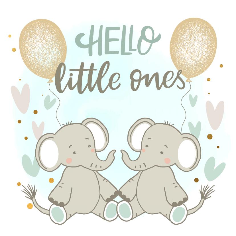 Felicitatiekaarten - Felicitatiekaart geboorte - Olifantjes tweeling jongen