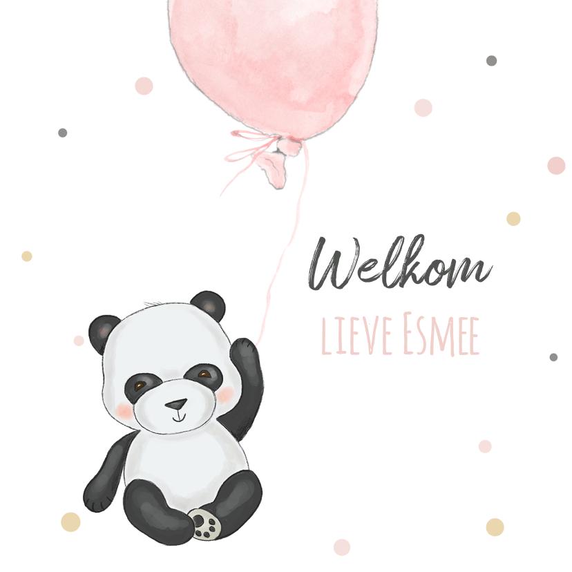 Felicitatiekaarten - Felicitatiekaart geboorte pandabeer met ballon en confetti